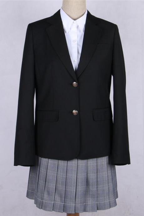 Japanese JK Women Girl School Uniform Suit Coat Students Jacket Blazer Outerwear black