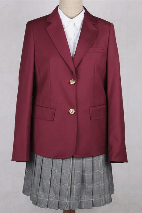 Japanese JK Women Girl School Uniform Suit Coat Students Jacket Blazer Outerwear burgundy