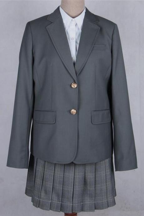 Japanese JK Women Girl School Uniform Suit Coat Students Jacket Blazer Outerwear gray