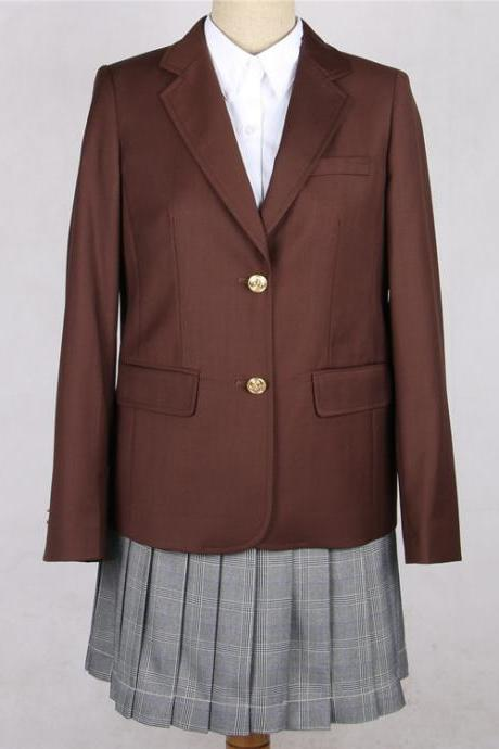 Japanese JK Women Girl School Uniform Suit Coat Students Jacket Blazer Outerwear coffee
