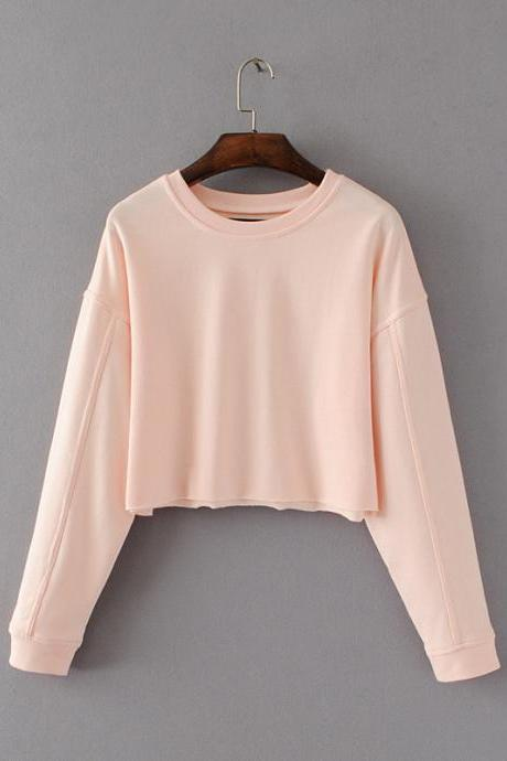 Women Spring Autumn Long Sleeve Sweatshirts Casual O-Neck Loose Hoodies Fashion Short Pullovers pink