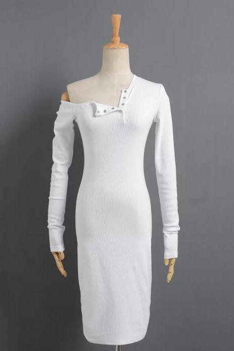 Off the Shoulder One Shoulder Bodycon Dress Slim Long Sleeve Button Evening Party Club Sexy T-Shirt Dress off white