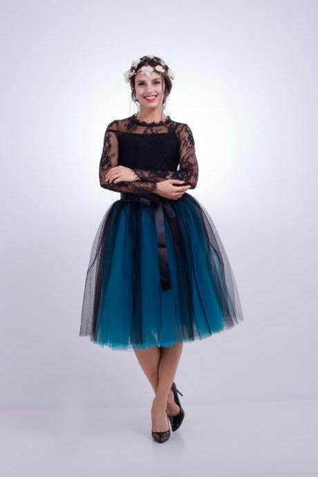 6 Layers Multi Color Tulle Midi Skirt Women Fashion Adult Tutu Skirts Mesh Bridesmaid Wedding Party Skirt black+blue