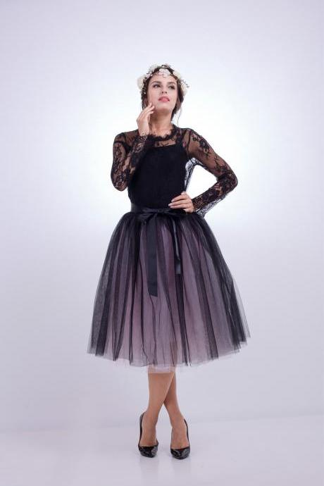 6 Layers Multi Color Tulle Midi Skirt Women Fashion Adult Tutu Skirts Mesh Bridesmaid Wedding Party Skirt black+pink