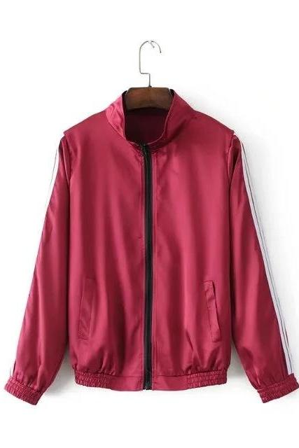 Burgundy High-Neck Striped Baseball Bomber Jacket with Long Tracksuit Pants