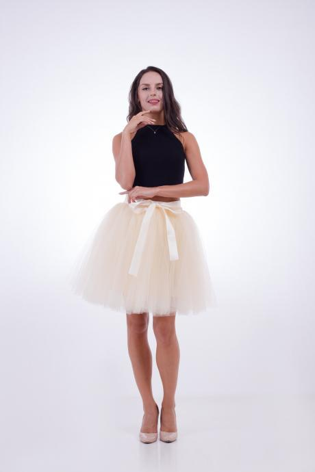 6 Layers Tulle Midi Lolita Skirt Women Adult Tutu Skirt American Apparel Wedding Bridesmaid Party Petticoat beige