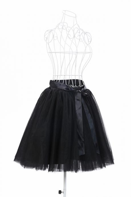 6 Layers Tulle Midi Lolita Skirt Women Adult Tutu Skirt American Apparel Wedding Bridesmaid Party Petticoat black