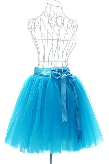 6 Layers Tulle Midi Lolita Skirt Women Adult Tutu Skirt American Apparel Wedding Bridesmaid Party Petticoat blue
