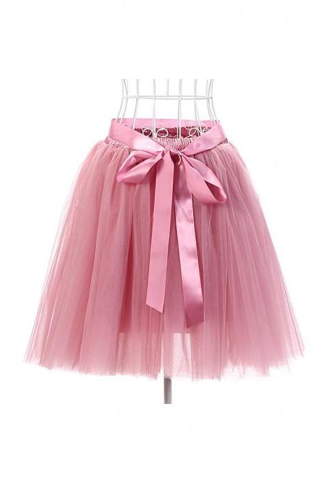 6 Layers Tulle Midi Lolita Skirt Women Adult Tutu Skirt American Apparel Wedding Bridesmaid Party Petticoat blush