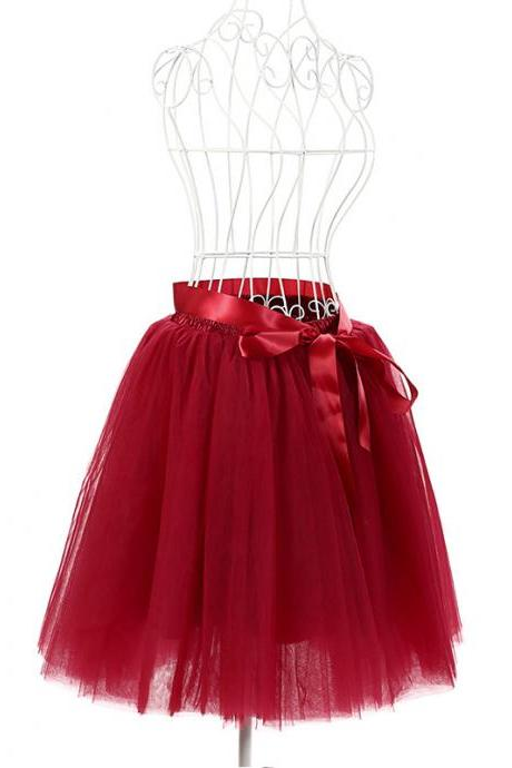 6 Layers Tulle Midi Lolita Skirt Women Adult Tutu Skirt American Apparel Wedding Bridesmaid Party Petticoat burgundy