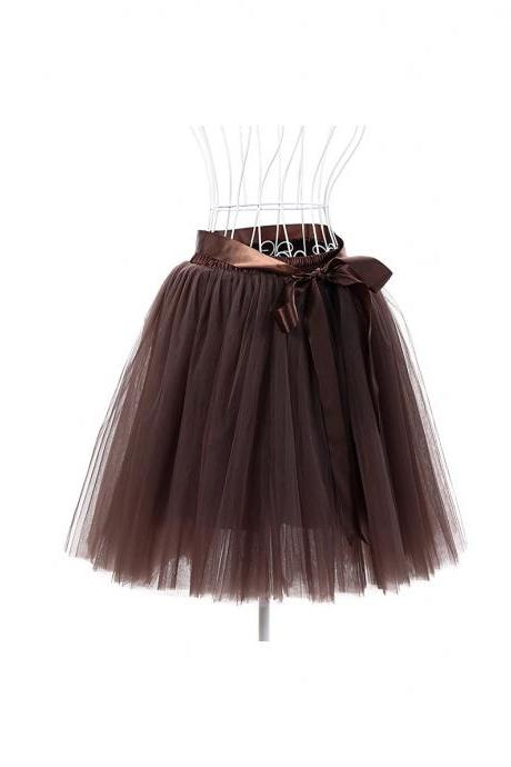 6 Layers Tulle Midi Lolita Skirt Women Adult Tutu Skirt American Apparel Wedding Bridesmaid Party Petticoat coffee