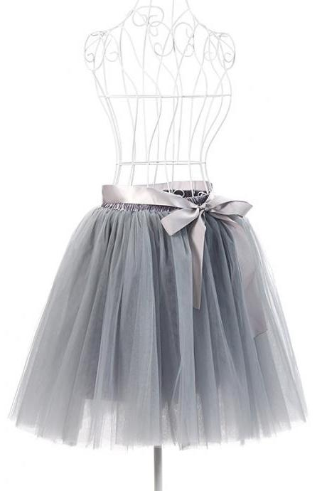 6 Layers Tulle Midi Lolita Skirt Women Adult Tutu Skirt American Apparel Wedding Bridesmaid Party Petticoat gray