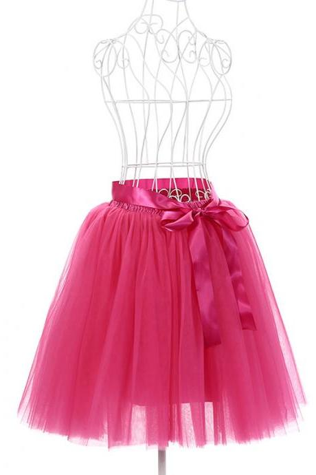 6 Layers Tulle Midi Lolita Skirt Women Adult Tutu Skirt American Apparel Wedding Bridesmaid Party Petticoat hot pink