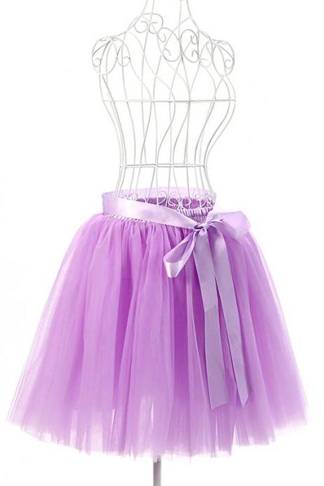 6 Layers Tulle Midi Lolita Skirt Women Adult Tutu Skirt American Apparel Wedding Bridesmaid Party Petticoat lilac