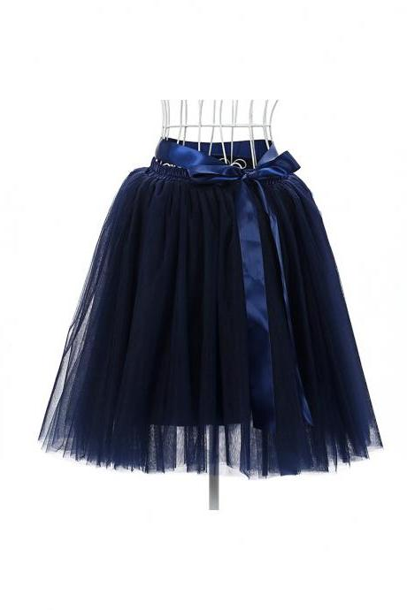 6 Layers Tulle Midi Lolita Skirt Women Adult Tutu Skirt American Apparel Wedding Bridesmaid Party Petticoat navy blue