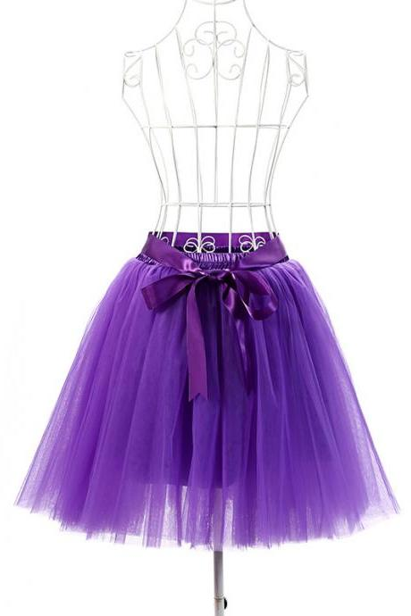 6 Layers Tulle Midi Lolita Skirt Women Adult Tutu Skirt American Apparel Wedding Bridesmaid Party Petticoat purple