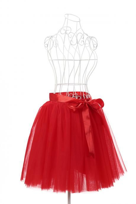 6 Layers Tulle Midi Lolita Skirt Women Adult Tutu Skirt American Apparel Wedding Bridesmaid Party Petticoat red