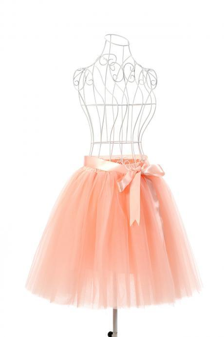 6 Layers Tulle Midi Lolita Skirt Women Adult Tutu Skirt American Apparel Wedding Bridesmaid Party Petticoat salmon