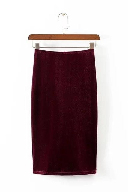 Burgundy High Rise Knee Length Bodycon Skirt