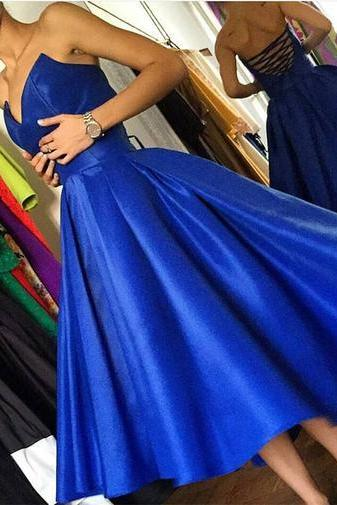 Royal Blue Sweetheart Party Dresses,Tea Length Lace-Up Homecoming Dresses, Chic Prom Dresses, Formal Dresses