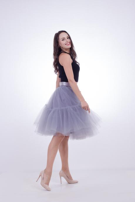 High Quality Lolita Skirt 5 Layers Tulle Midi Tutu Skirts Women Bridesmaid Wedding Party Petticoat gray