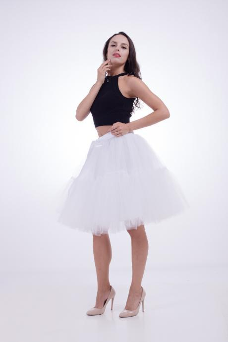High Quality Lolita Skirt 5 Layers Tulle Midi Tutu Skirts Women Bridesmaid Wedding Party Petticoat white