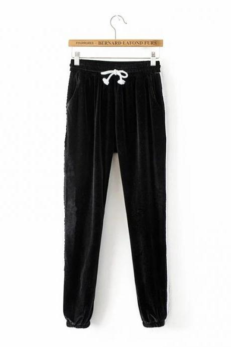 Black Casual High-Waist Trousers, Joggers, Yoga Pants, Sweatpants