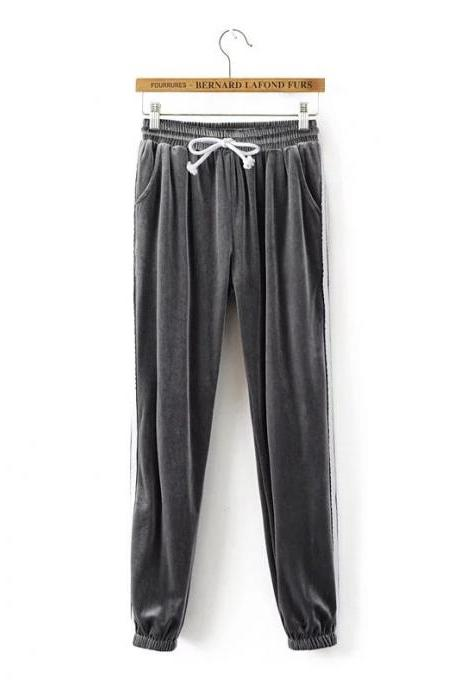 Grey Casual High-Waist Trousers, Joggers, Yoga Pants, Sweatpants