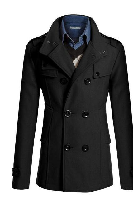 Men Woolen Coat Warm Thick Double Breasted Stand Collar Windbreaker Casual Outwear Overcoat Business Parkas