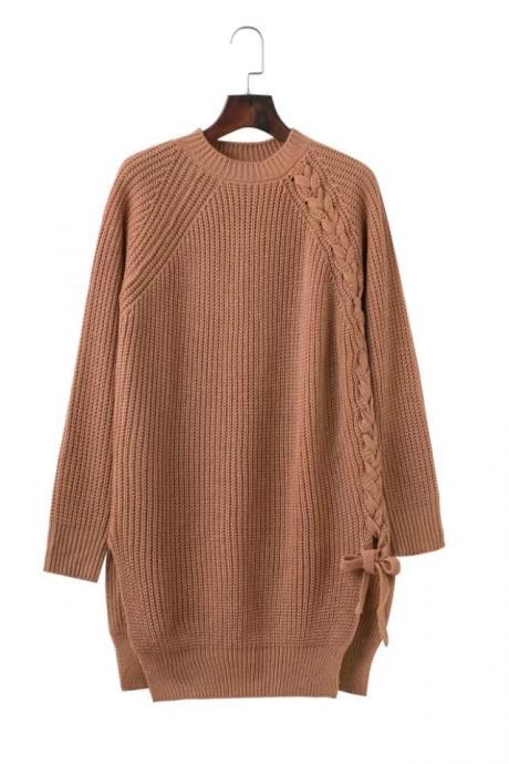 Elegant Lace up Sweater Women Casual Long Sleeve Knitted Split Autumn Winter Femme Pullover camel