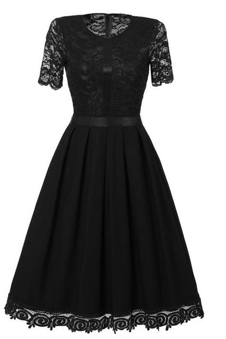 Vintage Lace Patchwork Dress Elegant Rockabilly Cocktail Party Short Sleeve A Line Swing Dress black