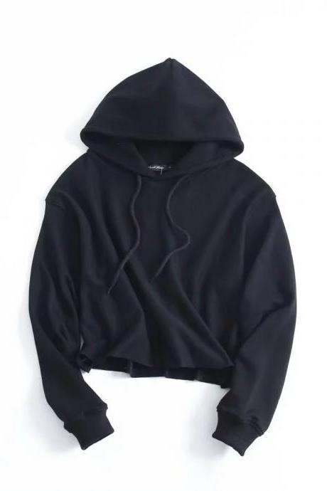 Black Long Cuffed Sleeves Drawstring Hood Pullover