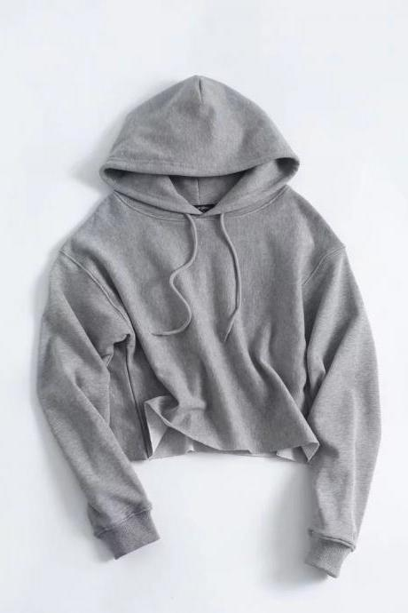 Drawstring Cropped Women Hoodie Sweatshirt Autumn Street Style Casual Short Pullovers gray