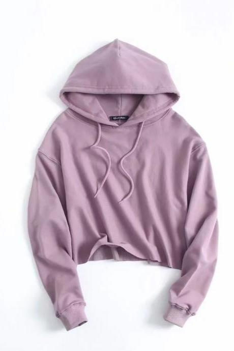 Drawstring Cropped Women Hoodie Sweatshirt Autumn Street Style Casual Short Pullovers lilac