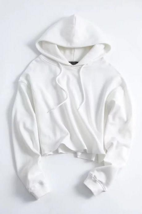 Drawstring Cropped Women Hoodie Sweatshirt Autumn Street Style Casual Short Pullovers off white
