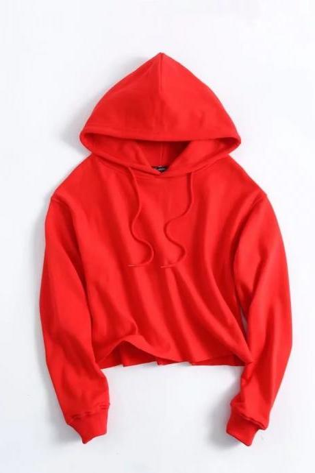 Red Long Cuffed Sleeves Drawstring Hood Cropped Pullover