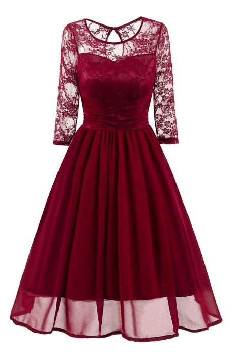 Vintage Lace Dress 3/4 Sleeve Women Chiffon Pleated Evening Party Swing A Line Dress burgundy