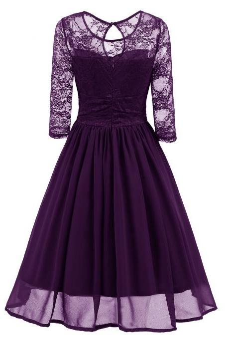 Vintage Lace Dress 3/4 Sleeve Women Chiffon Pleated Evening Party Swing A Line Dress purple