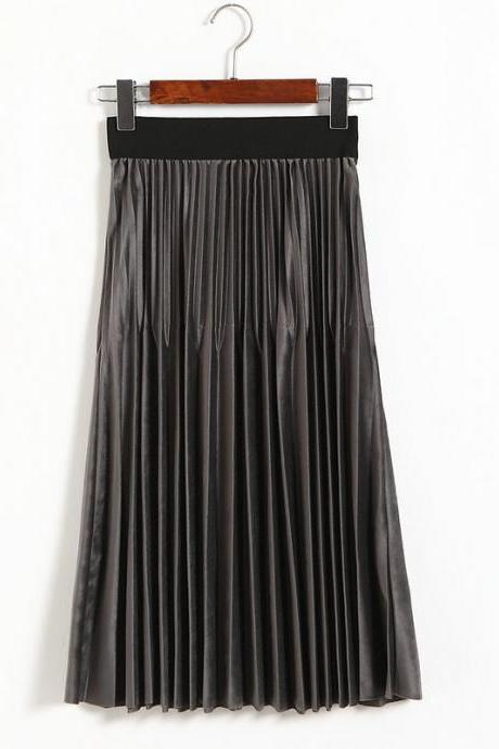 Winter Pleuche Mixed Pleated A-line Long Skirt Elastic High Waist Mid-Calf Autumn Midi Skirt gray