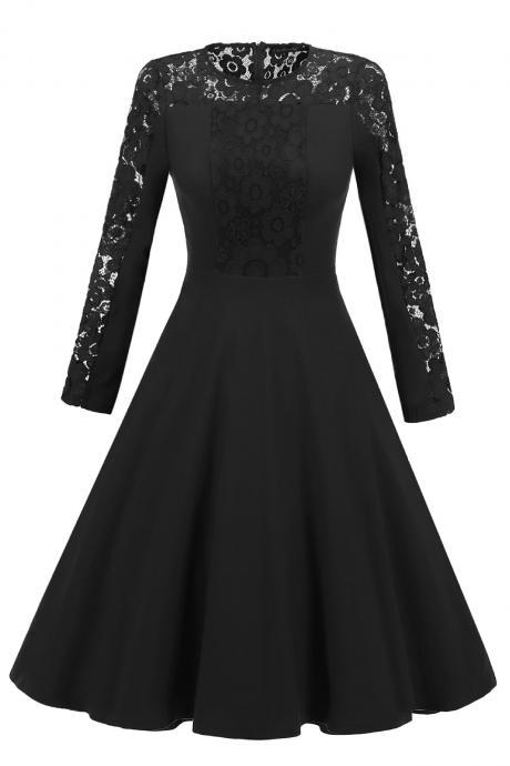 Vintage Long Sleeve Autumn Dress Floral Lace Patchwork Women Cocktail Party A Line Swing Dress black