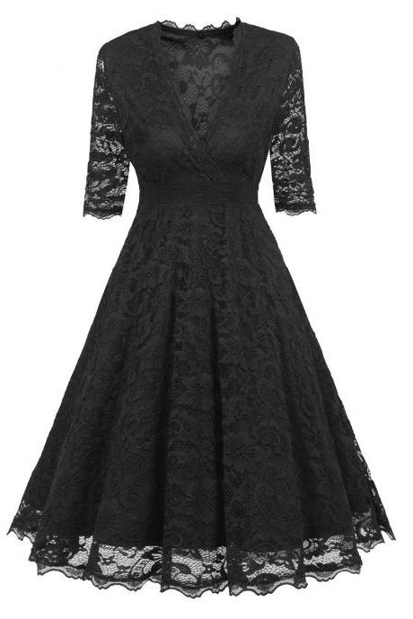 Vintage Floral Lace Dress Women V Neck Half Sleeve Formal Evening Party A Line Swing Dress black