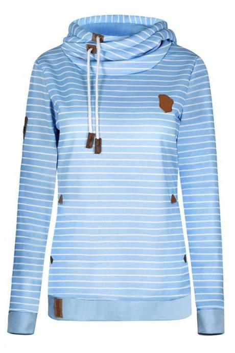 Winter Fleece Hoodies Women Long Sleeve Striped Hooded Sweatshirts Thick Pullover sky blue