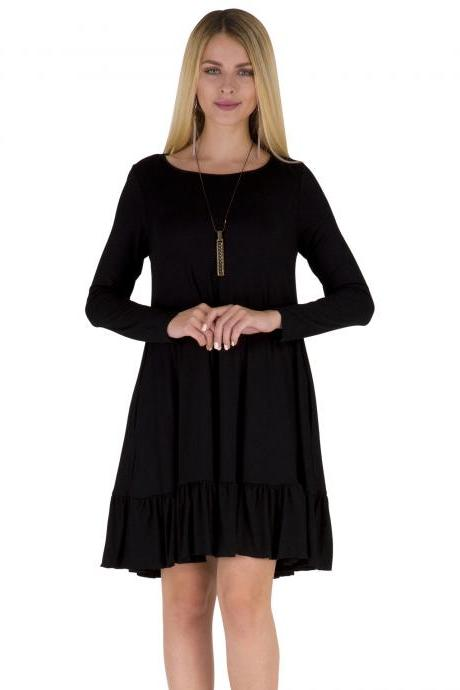 Women Ruffles Casual Dress Autumn Long Sleeve A Line Loose Pocket Female Short Mini Party Dress black
