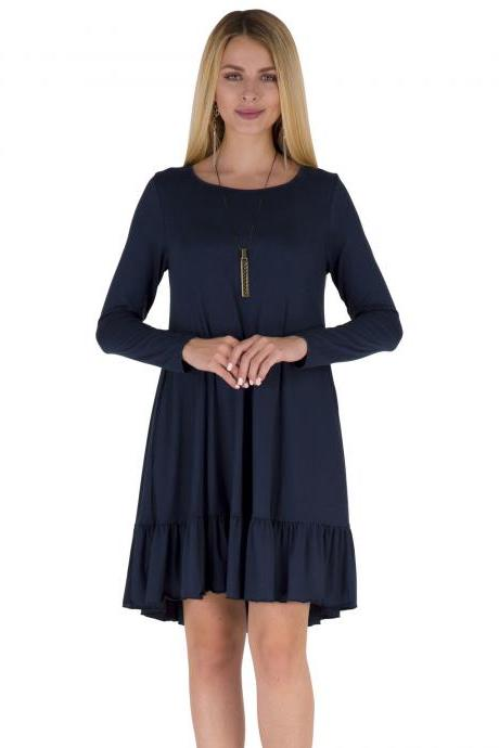 Women Ruffles Casual Dress Autumn Long Sleeve A Line Loose Pocket Female Short Mini Party Dress navy blue