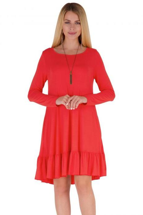Women Ruffles Casual Dress Autumn Long Sleeve A Line Loose Pocket Female Short Mini Party Dress red