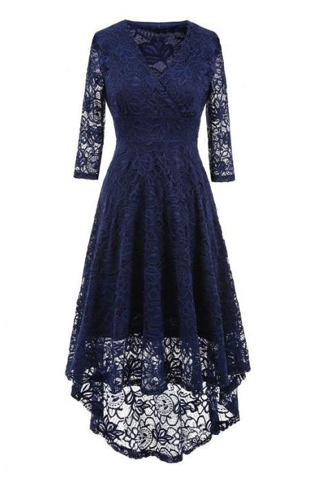 Vintage Floral Lace High Low Dress Women V Neck 3/4 Sleeve Cocktail Evening Party Swallowtail Dress navy blue