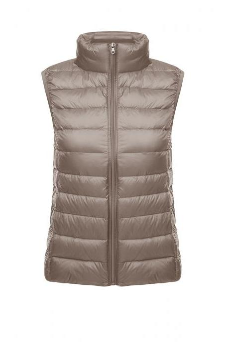 Women Sleeveless Waistcoat Winter Ultra Light Duck Down Vest Female Slim Jacket Packable Warm Coat khaki