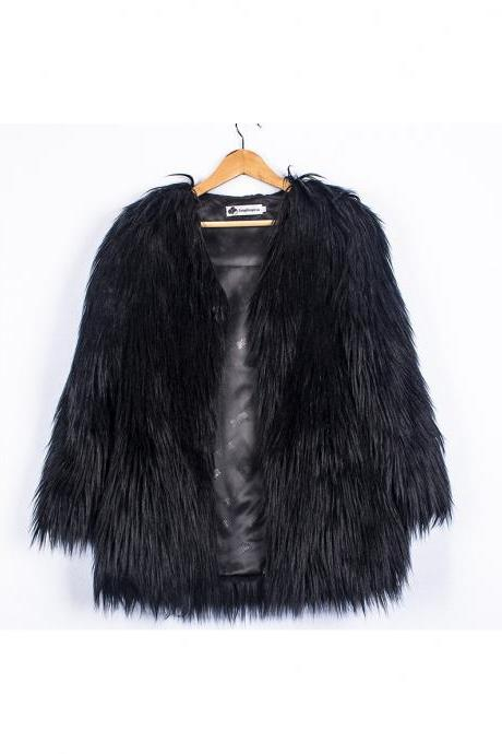 Plus Size Women Fluffy Faux Fur Coats Long Sleeve Winter Warm Long Jackets Female Outerwear black