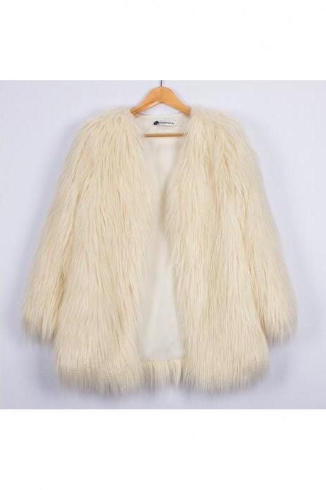 Plus Size Women Fluffy Faux Fur Coats Long Sleeve Winter Warm Long Jackets Female Outerwear ivory