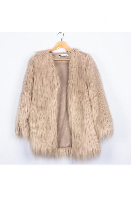 Plus Size Women Fluffy Faux Fur Coats Long Sleeve Winter Warm Long Jackets Female Outerwear light khaki